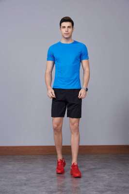2020最新款短袖运动t恤衫 潮 圆领套头 湖蓝色