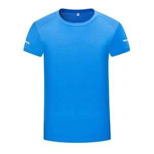 短袖t恤 男 圆领纯色湖蓝色潮流修身春夏季上衣