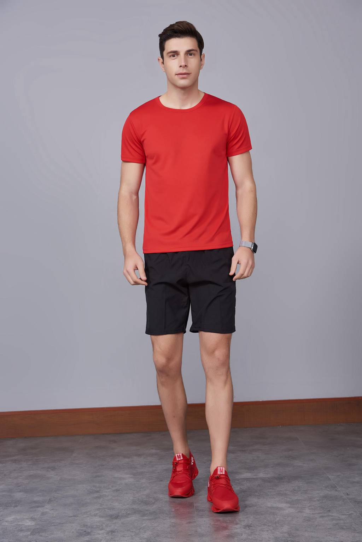 运动速干T恤 红色 2020春季新款宽松透气圆领舒适运动健身T恤