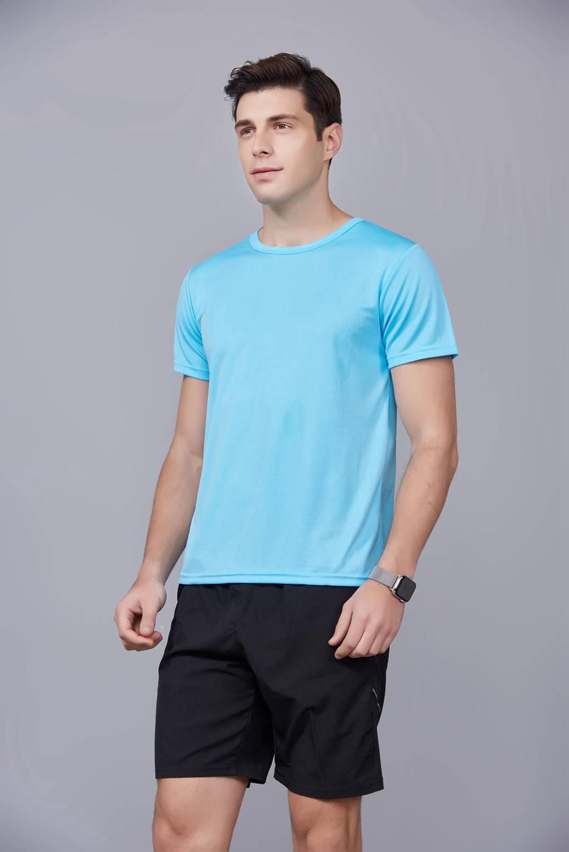 运动T恤 速干衣 天蓝色 2020春季新款宽松透气圆领舒适运动健身T恤