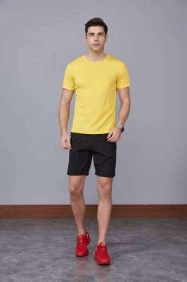 运动T恤 速干衣 黄色 2020春季新款宽松