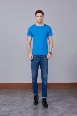 运动速干T恤 湖蓝色 2020春季新款宽松透气圆领舒适运动健身T恤