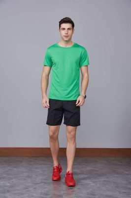 运动速干T恤 草绿色 2020春季新款宽松透气圆领舒适运动健身T恤