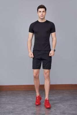 黑色 潮牌休闲t恤短袖修身个性圆领修