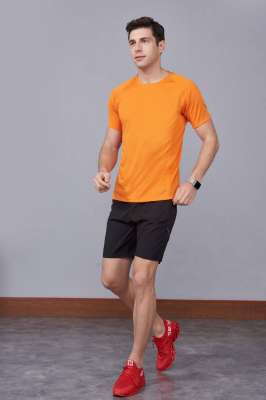 橘色 潮牌休闲t恤短袖修身个性圆领修