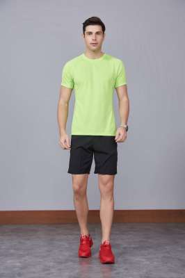 果绿色 潮牌休闲t恤短袖修身个性圆领