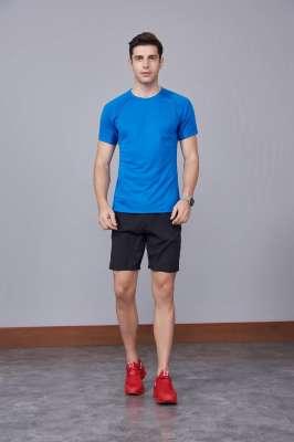 宝蓝色 潮牌休闲t恤短袖修身个性圆领修身半袖打底衫2020新款