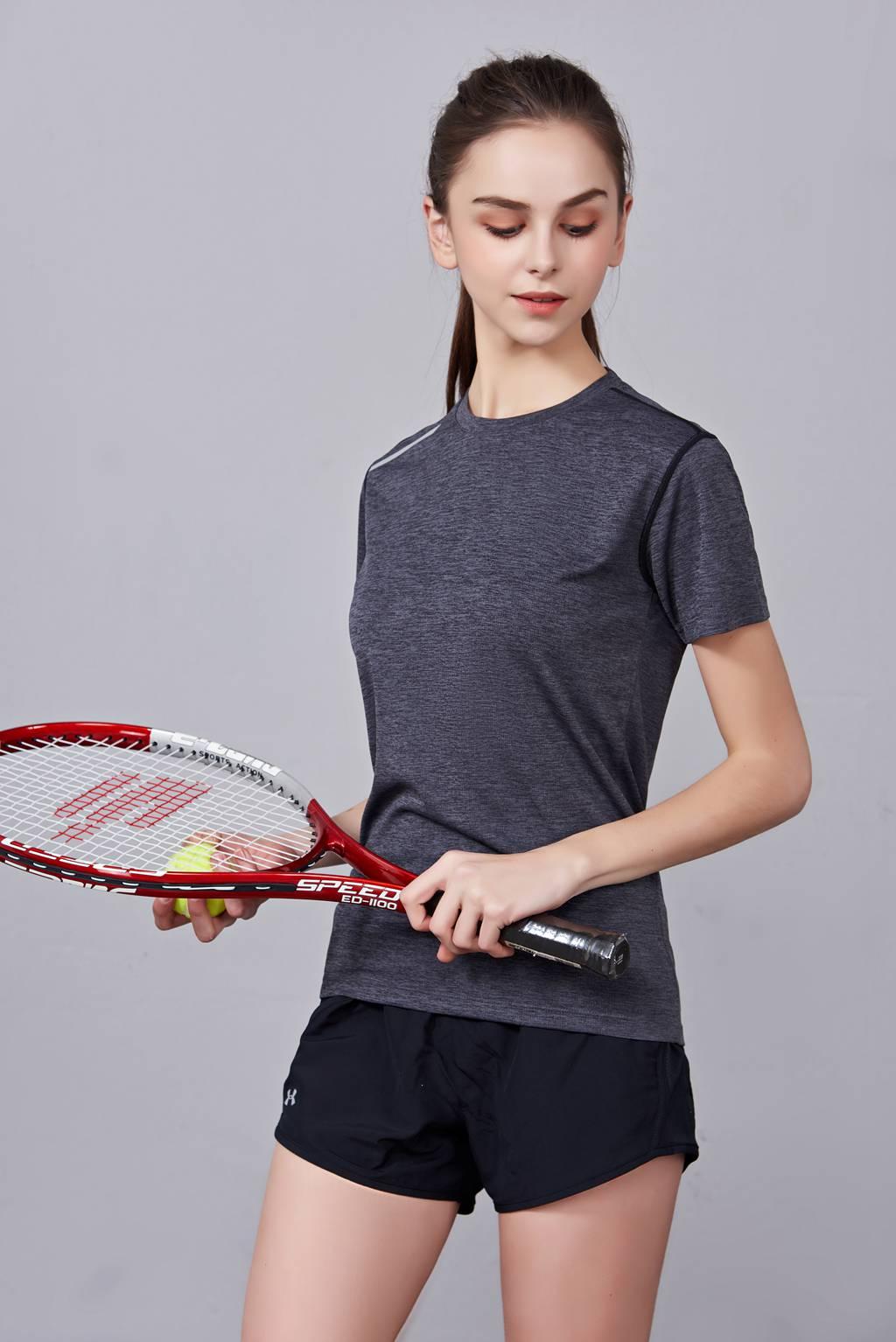 短袖T恤 潮流休闲款圆领吸汗运动上衣 女款深灰色