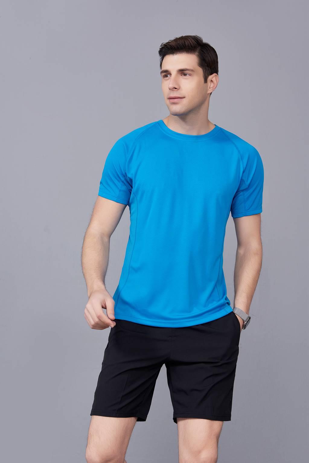 潮流T恤    2020新款短袖运动舒适速干衣 湖蓝色