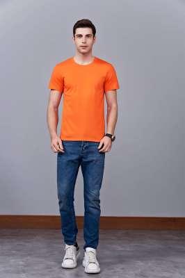 时尚新潮短袖上衣 橘色 情侣款亲子款