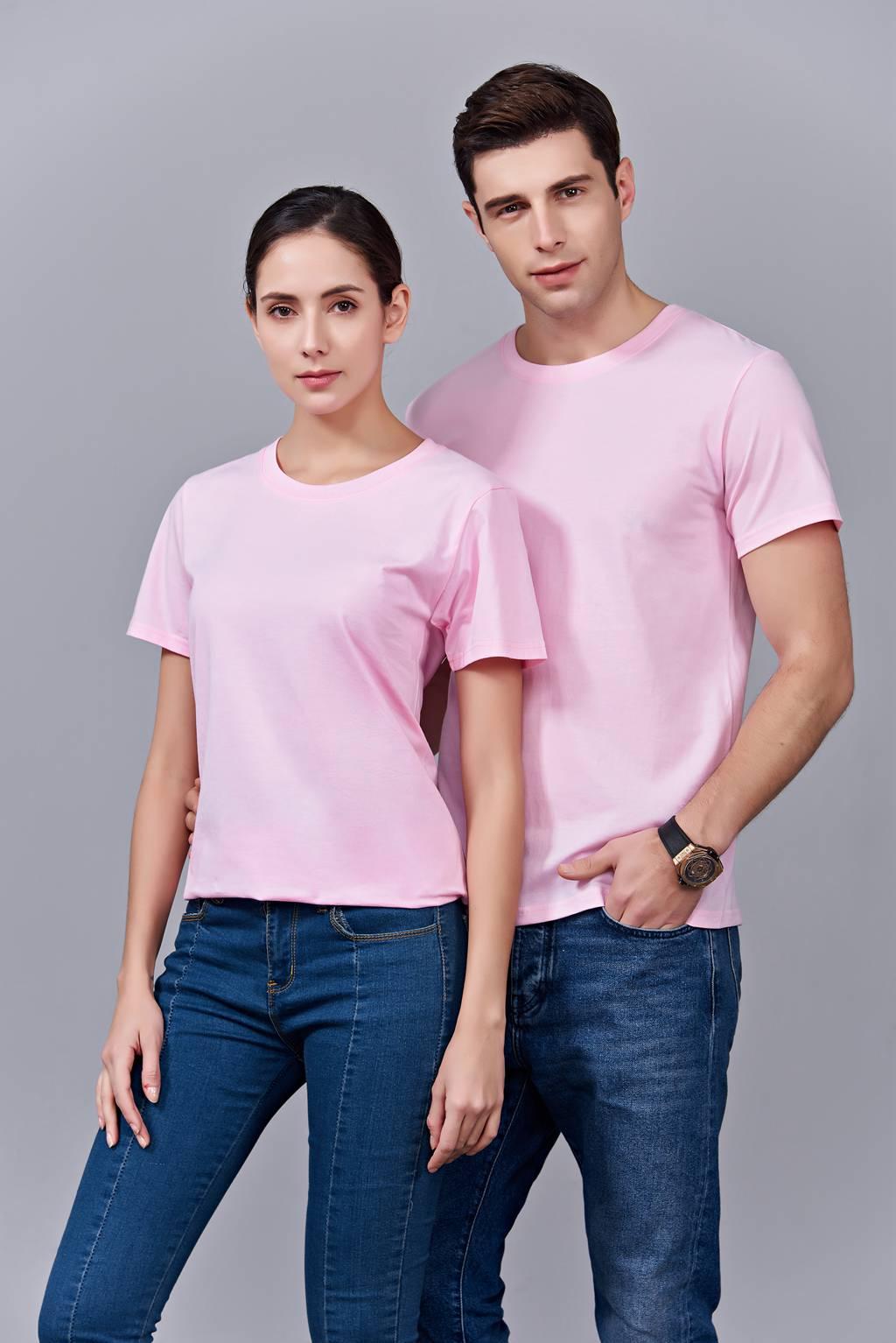 时尚新潮短袖上衣 粉色 情侣款亲子款休闲T恤订制