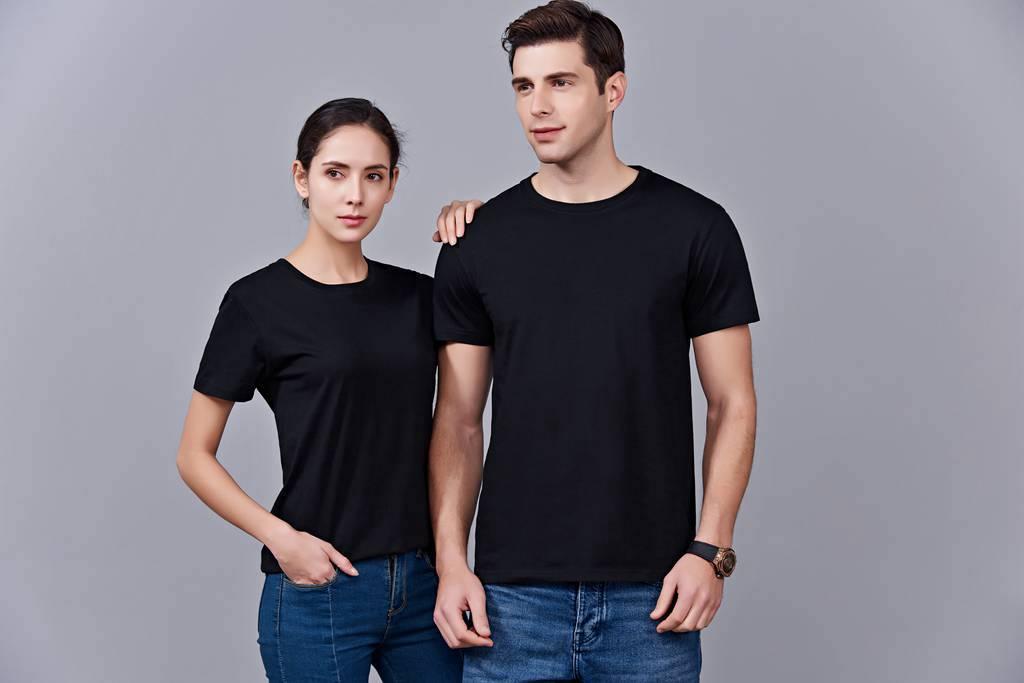 时尚新潮短袖上衣 黑色 情侣款亲子款休闲T恤订制