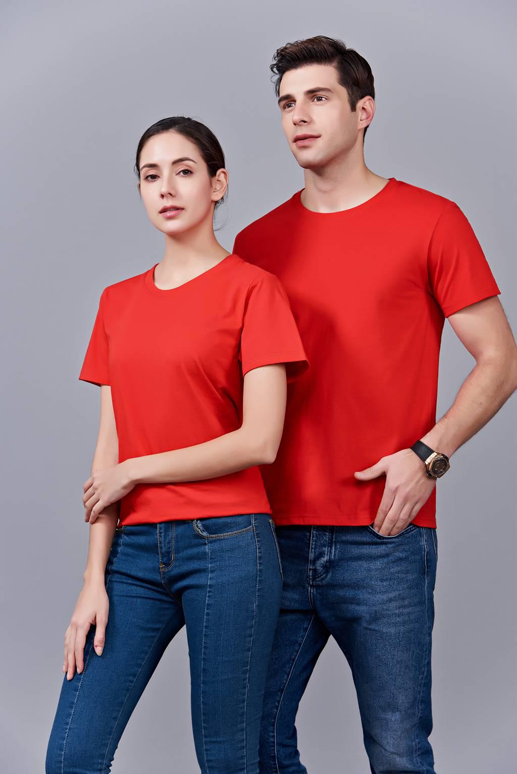 时尚新潮短袖上衣 红色 情侣款亲子款休闲T恤订制