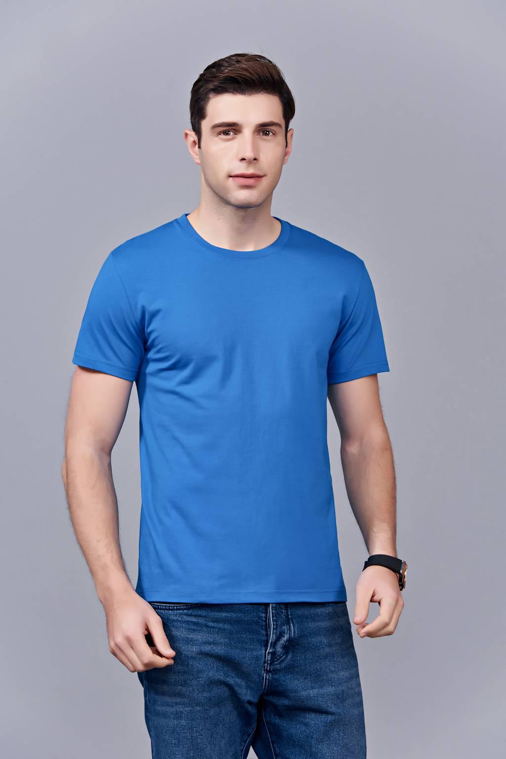 时尚新潮短袖上衣 湖蓝色 情侣款亲子款休闲T恤订制