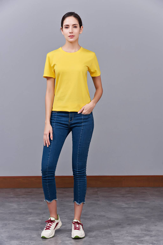 时尚新潮短袖上衣 黄色 情侣款亲子款休闲T恤订制