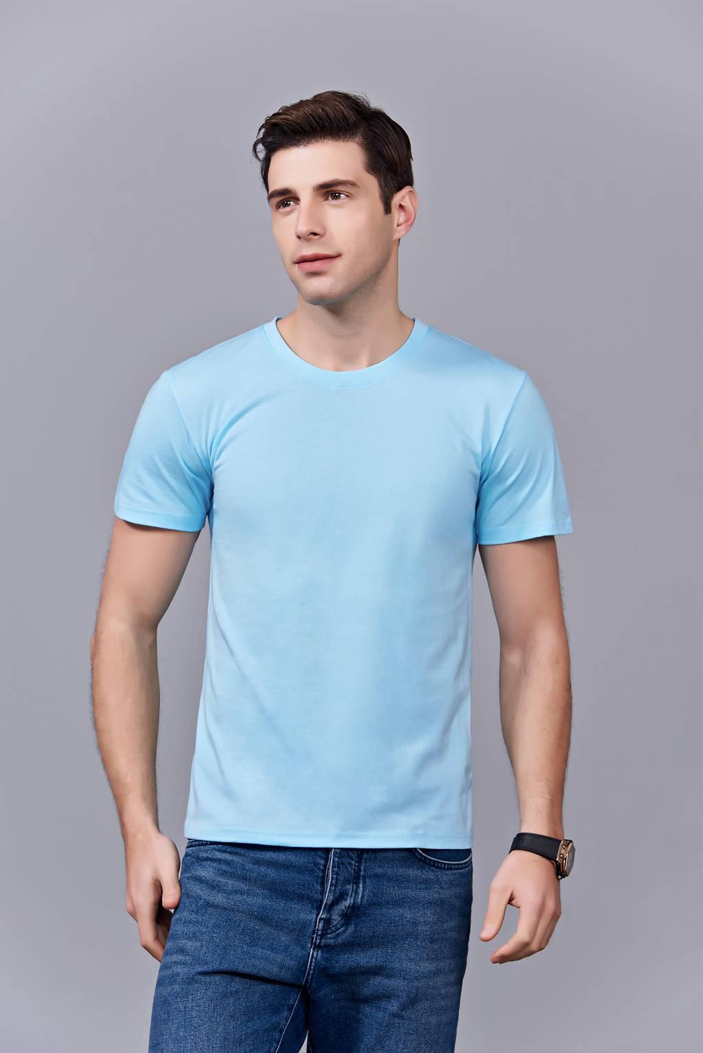 时尚新潮短袖上衣 天蓝色 情侣款亲子款休闲T恤订制