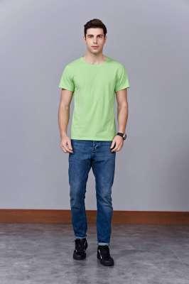 时尚新潮短袖上衣 果绿色 情侣款亲子