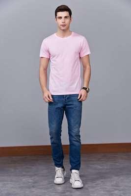 时尚新潮短袖上衣 粉色 情侣款亲子款