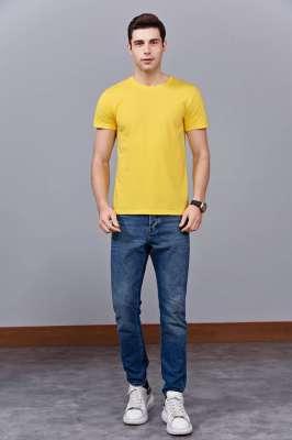 时尚新潮短袖上衣 黄色 情侣款亲子款