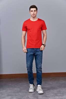 时尚新潮短袖上衣 红色 情侣款亲子款