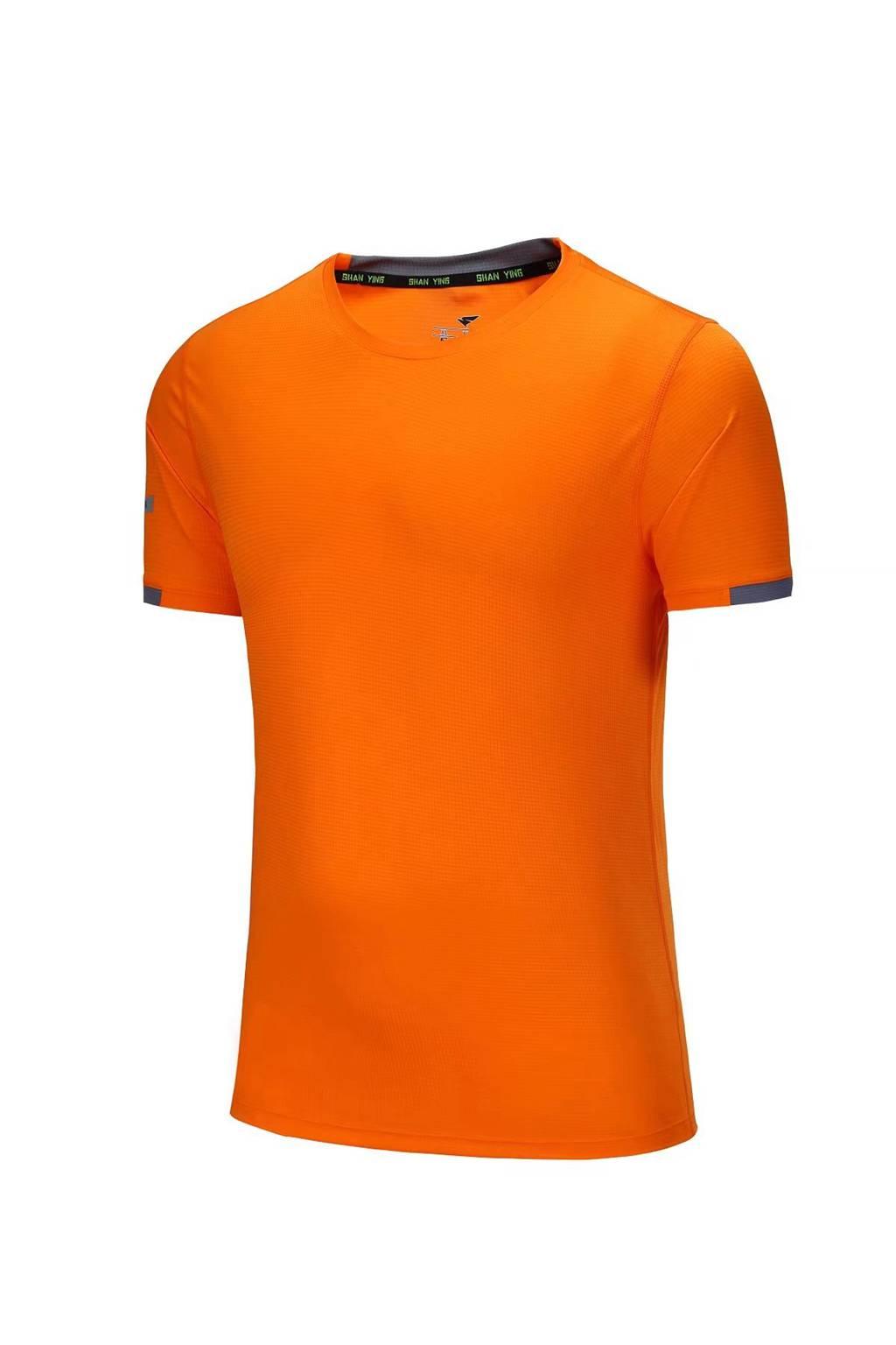 新款短袖T恤  纯色T恤半袖基础款 橘色3D图