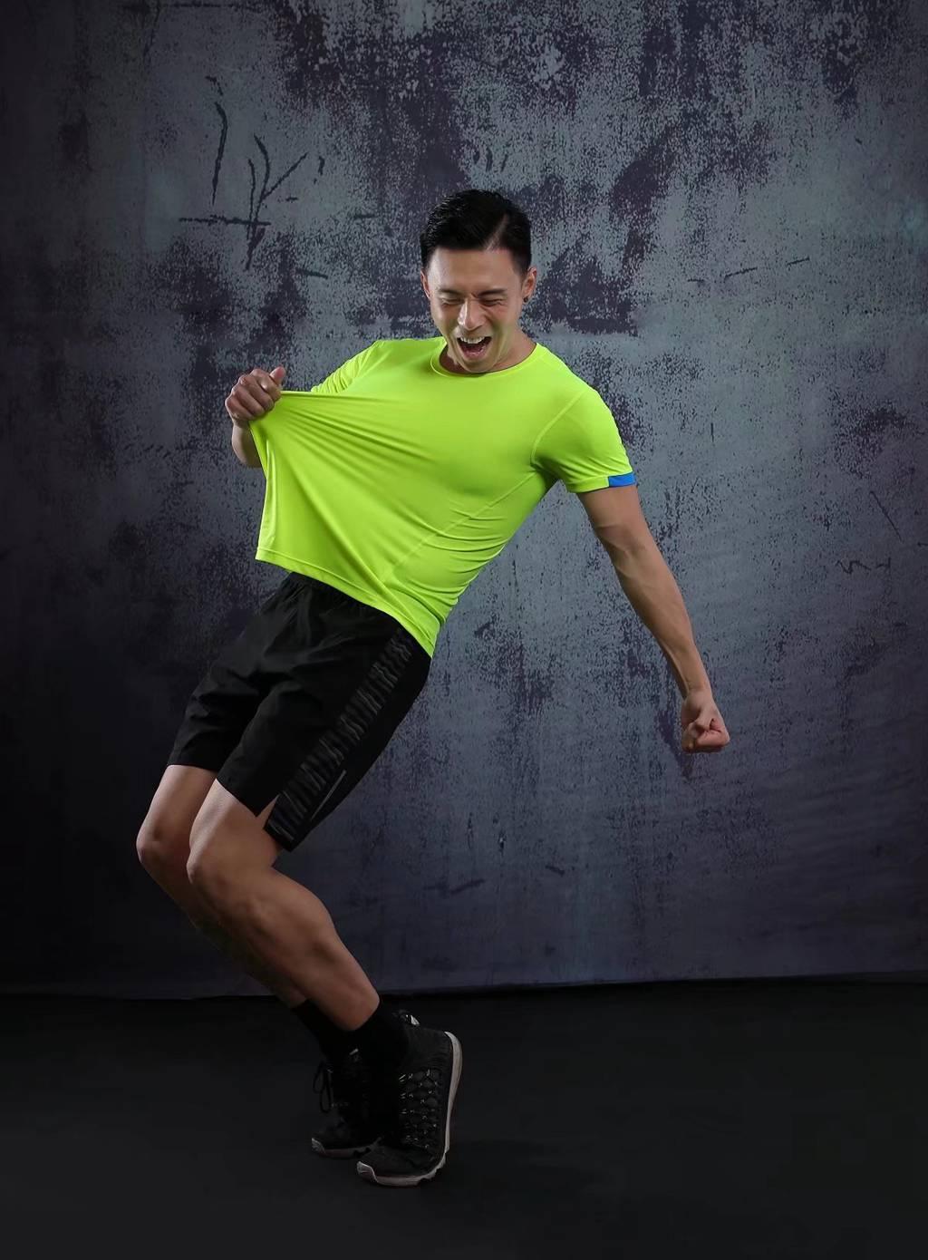 男士背心短袖 运动T恤弹力修身打底汗衫  果绿色速干衣