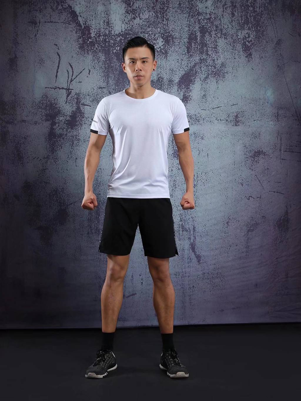 男士背心短袖 运动T恤弹力修身打底汗衫  白色速干衣