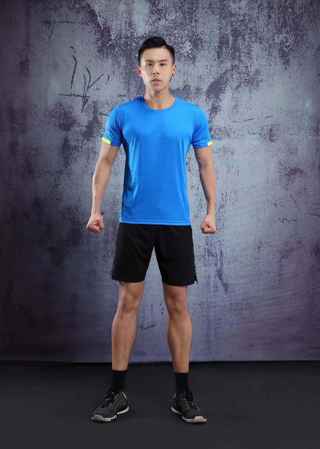 男士背心短袖 运动T恤弹力修身打底汗衫  湖蓝色速干衣