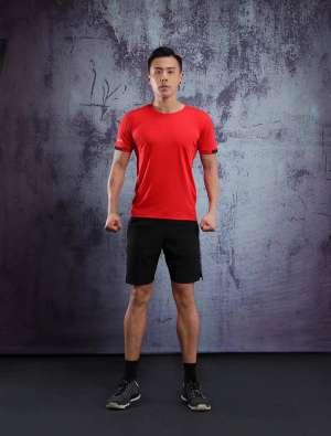男士背心短袖 运动T恤弹力修身打底汗衫 红色速干衣